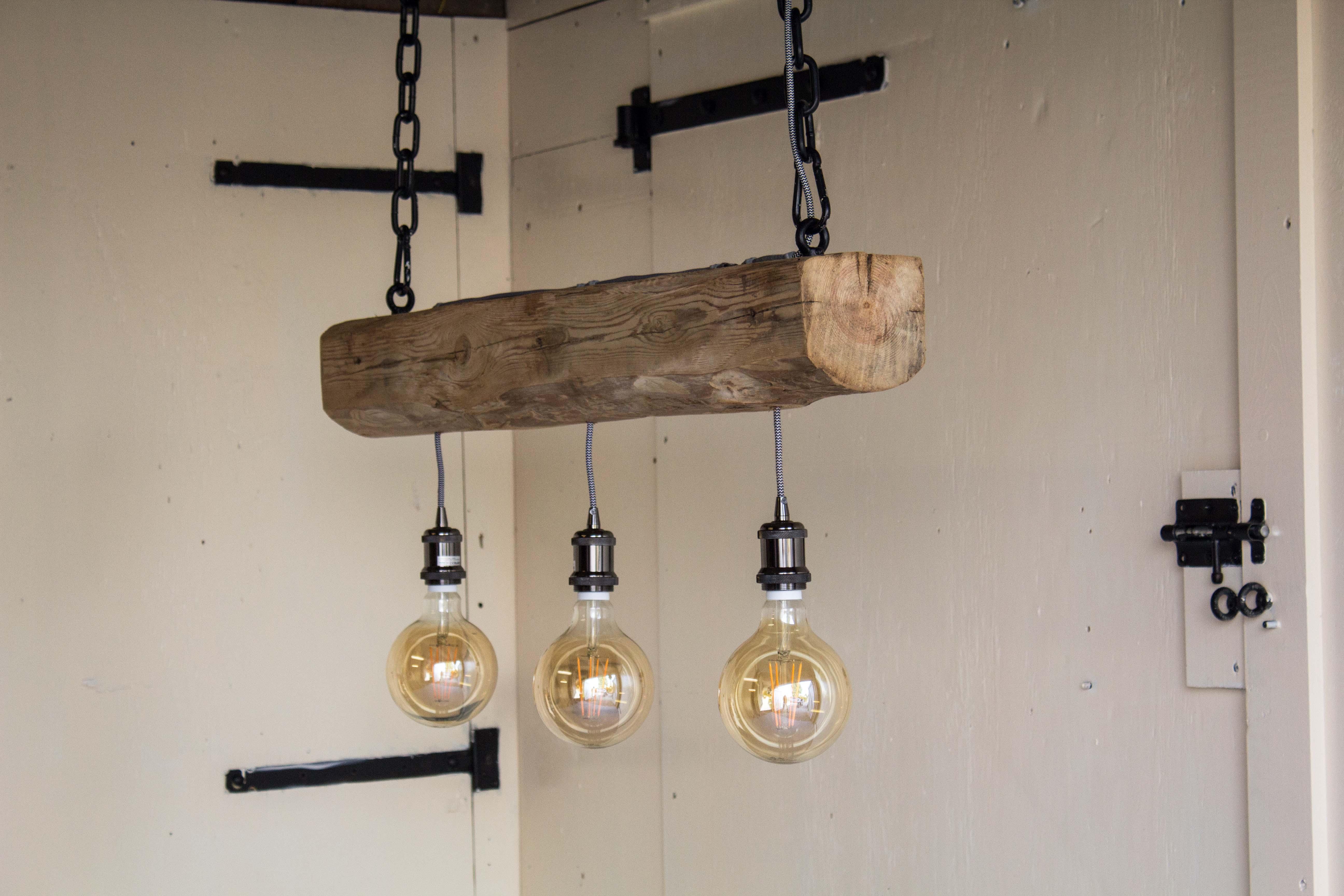 Welp Hanglamp met 3 fittingen – Robuuste Houten Lampen OR-61